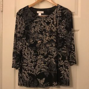 3/4 length sleeve black blouse with beaded details